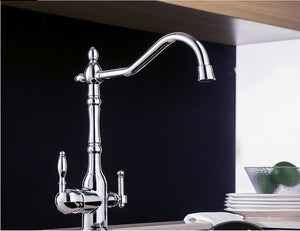 Solid Brass Chrome Kitchen Faucet Rotating and Water Purifying