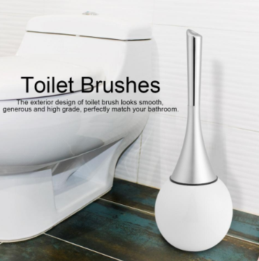 Modern Stainless Steel White Toilet Brush and Holder - Hansel & Gretel Home Decor