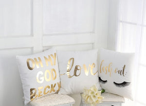 Stylish White and Gold Decorative Pillow Case