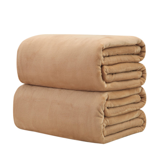 Cotton Polyester Light Brown Throw