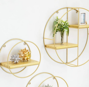 Metal Wooden Gold Shelf