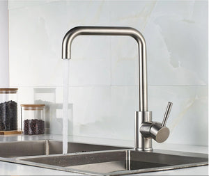 Stainless Steel Silver Kitchen Faucet 360 Degree Rotating