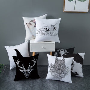 Lovely Black and White Decorative Pillow Case