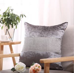 Diamond Fabric Gray Decorative Pillow Case