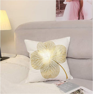 Elegant White and Gold Decorative Pillow Covers