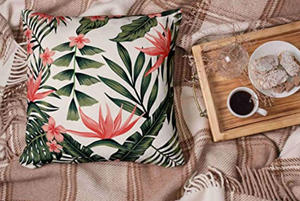 Tropical Green and Pink Decorative Pillow Case - Hansel & Gretel Home Decor