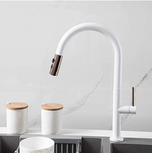 Brass White Kitchen Faucet Rotating and Pull Out