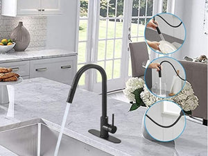 Stainless Steel Black Kitchen Faucet Touch Sensor and Pull Out