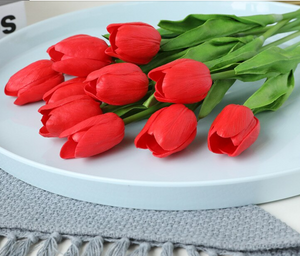 Red Artificial Flowers Tulip Bouquet - Hansel & Gretel Home Decor