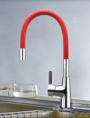 Brass Polished Red Kitchen Faucet Rotatable