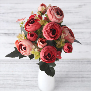Red and Pink Artificial Flowers Rose Bouquet - Hansel & Gretel Home Decor