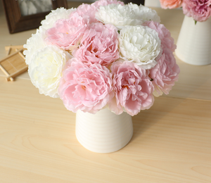 Peach Artificial Flowers Hydrangeas Bouquet - Hansel & Gretel Home Decor
