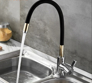 Brass Polished Black Kitchen Faucet Rotatable