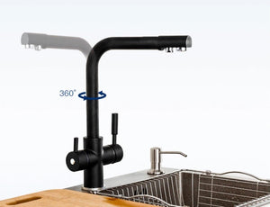 Brass Black Kitchen Faucet Rotating and Water Purifying