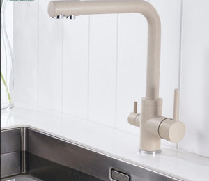 Brass Brown Kitchen Faucet Rotating and Water Purifying