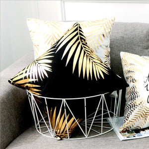 Modern Black and Gold Decorative Pillow Case