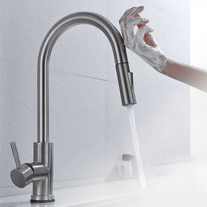 Stainless Steel Brushed Nickel Kitchen Faucet Touch Sensor and Pull Out - Hansel & Gretel Home Decor