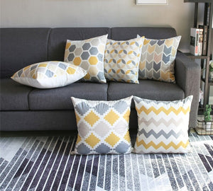 Contemporary Yellow and Gray Decorative Pillow Covers