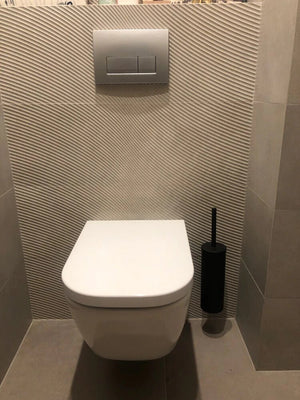 Modern Stainless Steel Black Toilet Brush and Holder