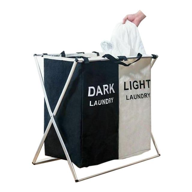 Modern Black and White Foldable Laundry Basket
