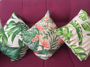 Tropical Green and Pink Decorative Pillow Case