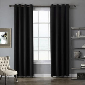 Black Cotton Polyester Living Room and Bedroom Curtains - Hansel & Gretel Home Decor