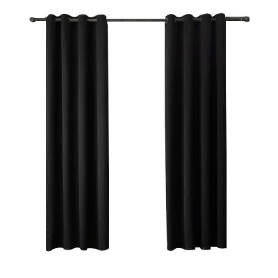 Black Cotton Polyester Living Room and Bedroom Curtains