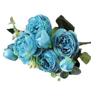 Blue Artificial Flowers Peony Bouquet - Hansel & Gretel Home Decor