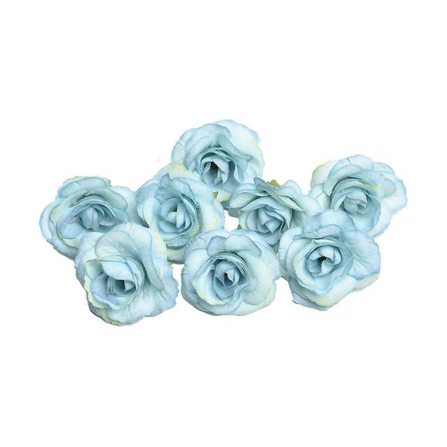 Blue Artificial Flowers Rose Head