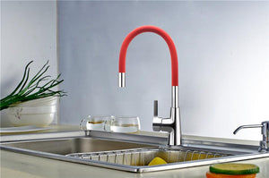 Brass Polished Red Kitchen Faucet Rotatable - Hansel & Gretel Home Decor