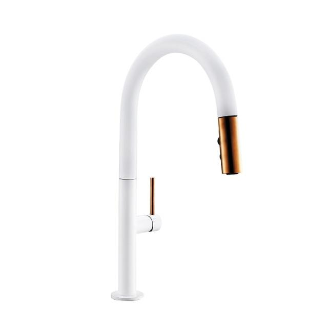 Brass White Kitchen Faucet Rotating and Pull Out - Hansel & Gretel Home Decor