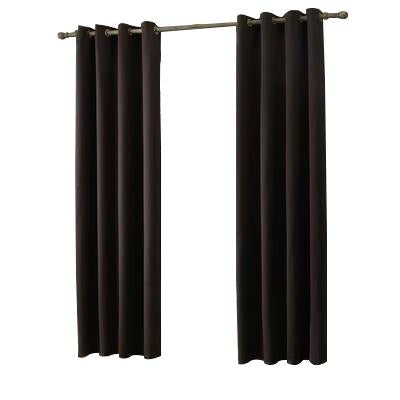 Brown Cotton Polyester Living Room and Bedroom Curtains