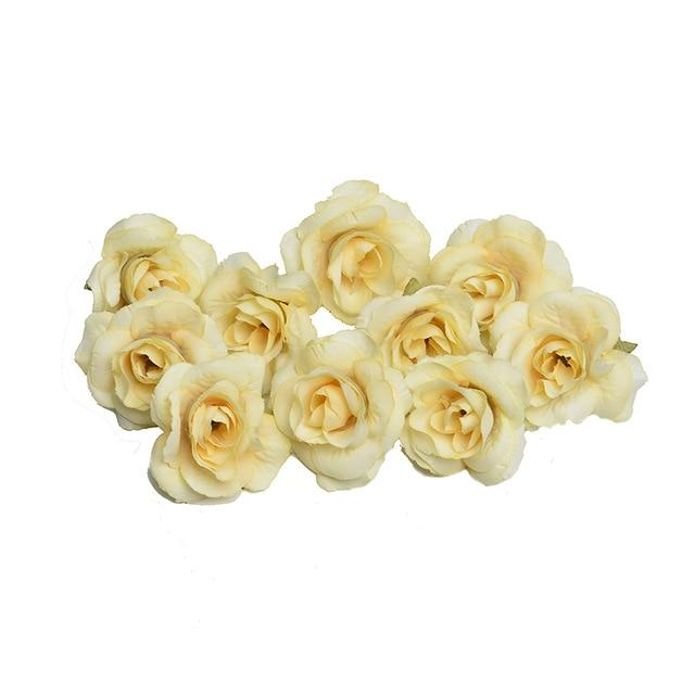 Champagne Artificial Flowers Rose Head