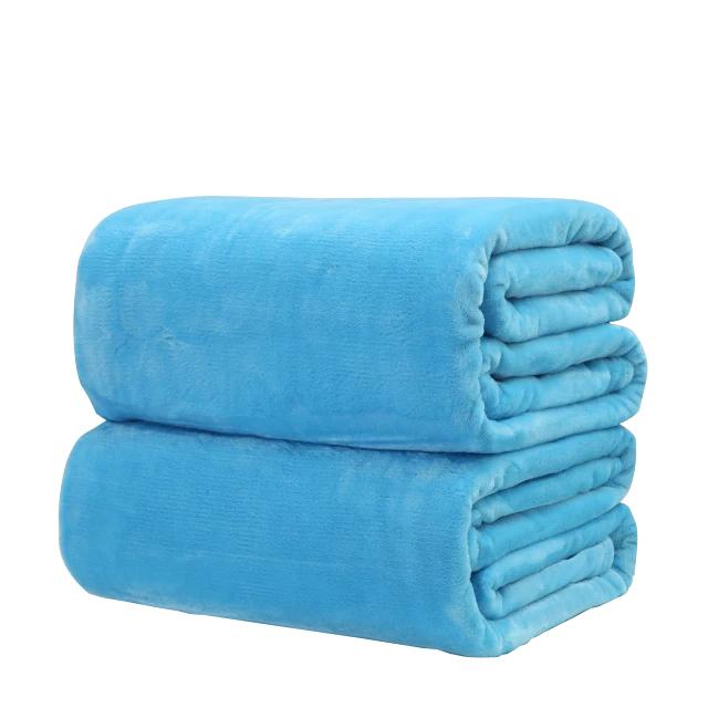 Cotton Polyester Blue Throw
