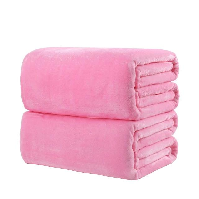 Cotton Polyester Pink Throw