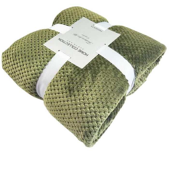 Crocheted Polyester Green Throw