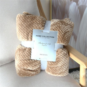 Crocheted Polyester Light Brown Throw - Hansel & Gretel Home Decor