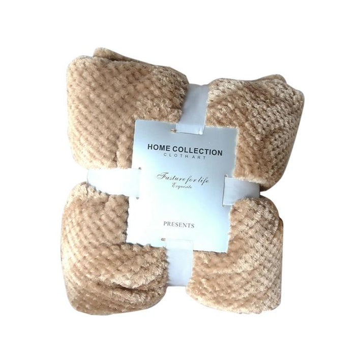 Crocheted Polyester Light Brown Throw