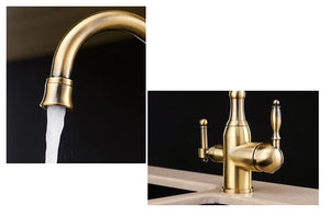Solid Brass Bronze Kitchen Faucet Rotating and Water Purifying - Hansel & Gretel Home Decor