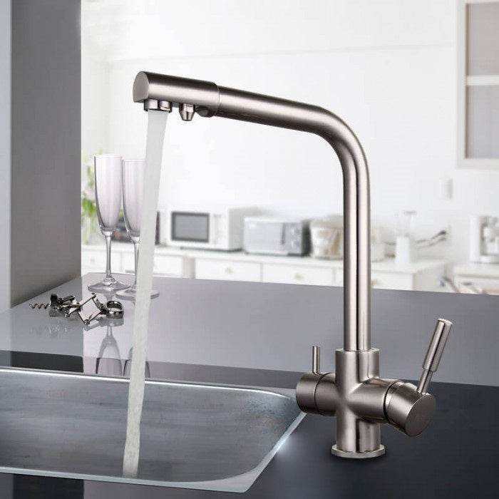 Brass Silver Kitchen Faucet Rotating and Water Purifying - Hansel & Gretel Home Decor