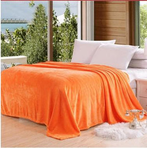 Fleece Plaid Orange Blanket - Hansel & Gretel Home Decor