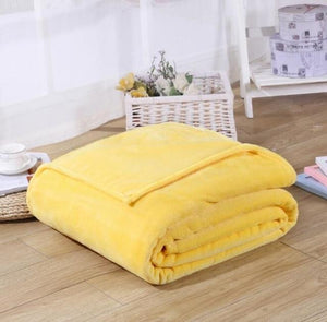 Fleece Plaid Yellow Blanket-Hansel & Gretel Home Decor