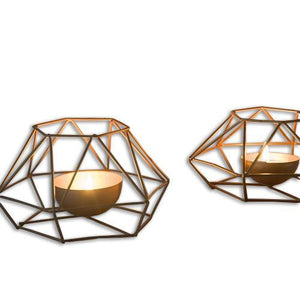 Small Geometric Iron Candle Holder - Hansel & Gretel Home Decor