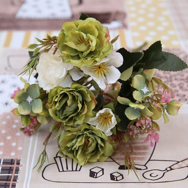Green Artificial Flowers Peony Bouquet - Hansel & Gretel Home Decor