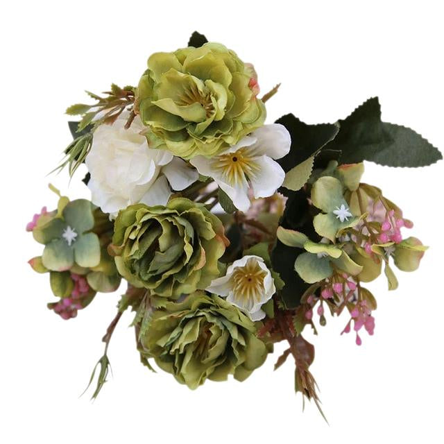 Green Artificial Flowers Peony Bouquet