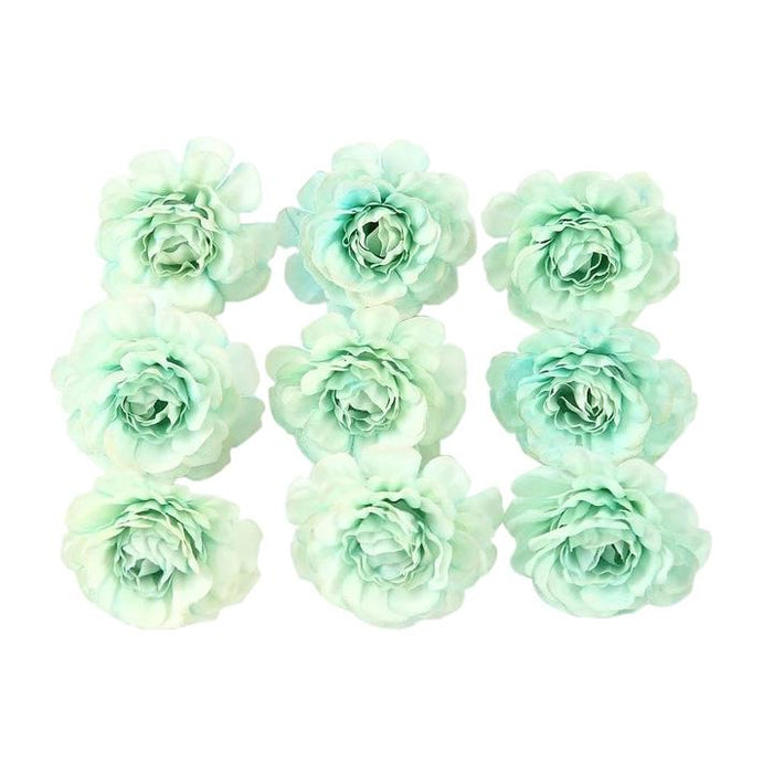 Green Artificial Flowers Spring Rose Head