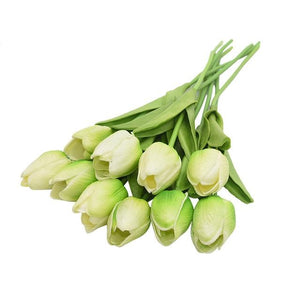 Green Artificial Flowers Tulip Bouquet - Hansel & Gretel Home Decor