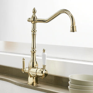 Solid Brass Smooth Gold Kitchen Faucet Rotating and Water Purifying