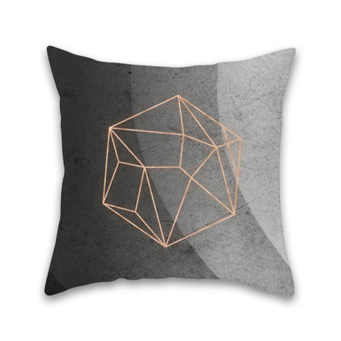 Luxurious Gray and Gold Decorative Pillow Case