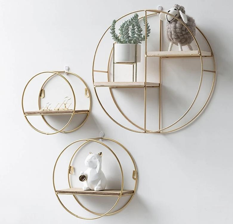 Metal Wooden Gold Shelf - Hansel & Gretel Home Decor